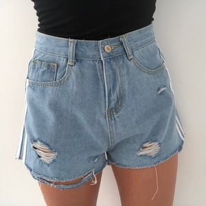 Distressed Shorts with White Stripe Detail